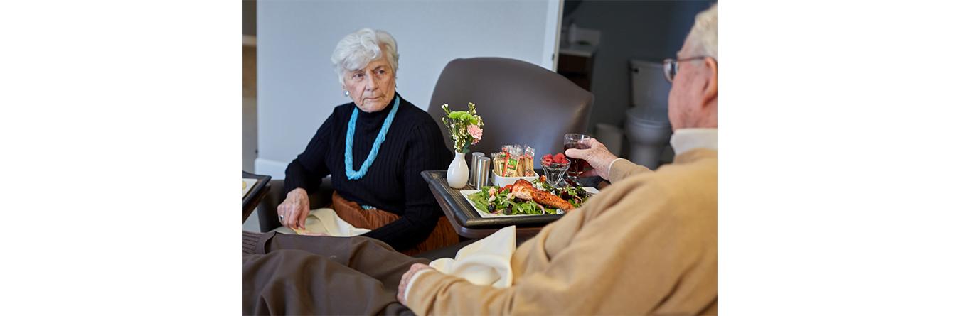 senior couple having dinner