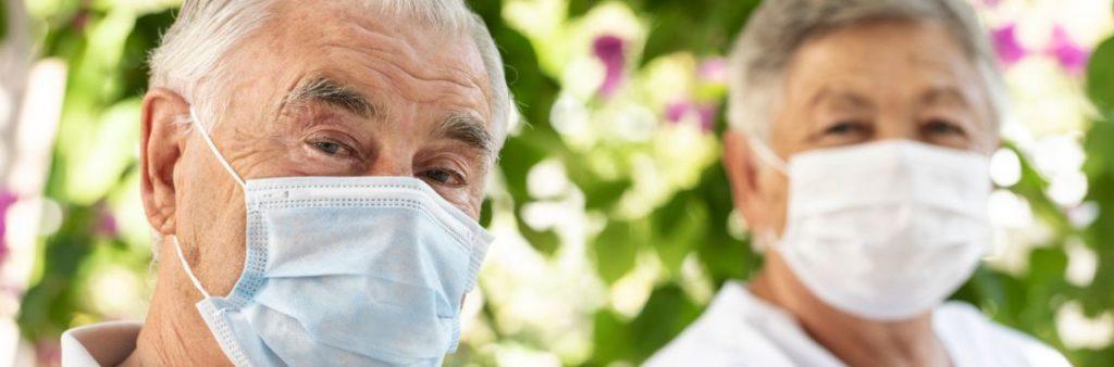 Seniors wearing masks